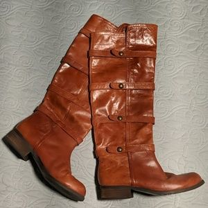 BCBG Brown Leather Knee Boots